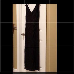 Ralph Lauren Black sequined evening gown